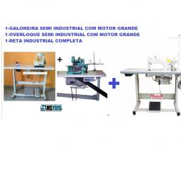 Reta Industrial+Overloque+ Galoneira Semi Industriais Com Motor Grande+mesa