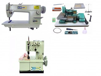 Reta Industrial Bracob + Galoneira 2 Agulhas Bracob + Overlock Fox Semi Industriais Novas